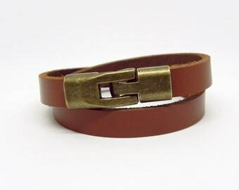 Tan Leather Bracelet Leather Cuff Bracelet with Bronze Alloy Magnetic Clasp