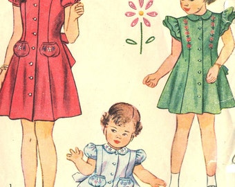 Vintage 40s Simplicity 2554 Toddler Girls Princess Seam Dress with Ruffle or Puff Sleeve Sewing Pattern Size 5