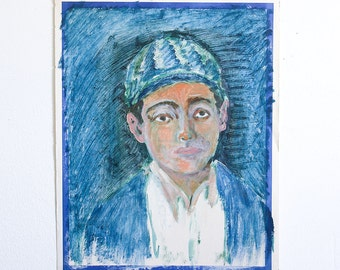 Vintage Portrait Painting / Outsider Art / 15 x 19 / Acrylic on Found Paper / Blue