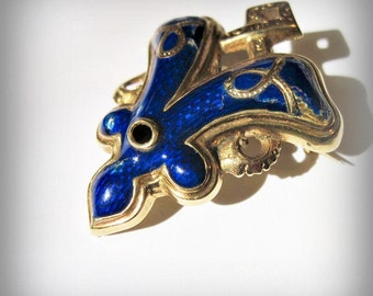 Antique Victorian 14K Enameled Brooch - Antique Jewelry - Victorian Jewelry - Blue - Fleur De Lis - Gold - Pin - 1870s