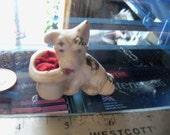 vintage dog figurine pin cushion terrier miniature