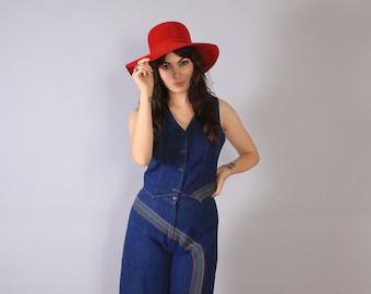 Vintage 70s HAT / 1970s FLOPPY Wide Brim Bohemian Ruby Red Felt Hat
