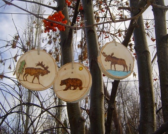 Birch Slice Christmas Ornaments,Wood Burned Wildlife Ornament,Rustic Tree Slice Ornaments, Personalized Ornaments