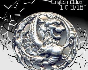 Button--Late 19th C. Pierced & British Hallmarked Silver Mythological Beast