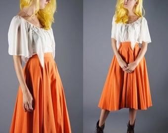 Orange Circle Skirt 50s Rayon Full Swing Skirt Tangerine Orange Size X Small Small Waist 24