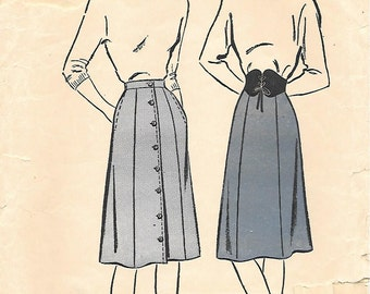 Advance 4068 1940s 6 Gore Skirt with Side Seam Pockets Vintage Unprinted Sewing Pattern Waist 26