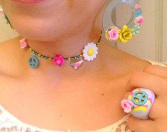 90s Peace Sign Choker, Flower choker, Boho Choker, Flower Power, Summer Festival, Music Festival Jewelry, Modern Hippie, Daisy Choker