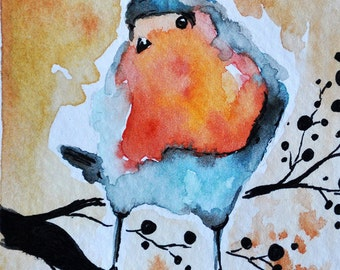 Original Watercolor and Ink Painting Robin ACEO