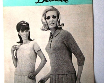 Vintage Pick-A-Top Dresses Pattern by Patons Beehive No 2062 Dress Knitting Patterns Polo Top or Shell Top & Skirt Ladies Sizes 12 14 16 18