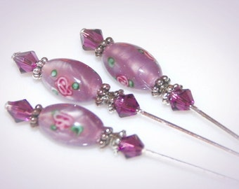 Set of Three Lampwork Stickpins. Purple Flower Beads & Swarovski Crystals.