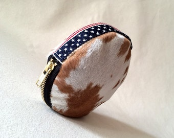 American flag Coin Purse, Fourth of July clutch, Leather Clam Purse, Leather Coin Wallet, Spotted hair on hide Coin Wallet