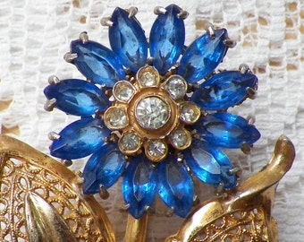 Vintage Glass Blue Petal Flower Brooch / Pin / Broach with Clear Rhinestone Center, Gold Tone Metal, Floral, Rhinestones