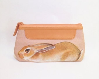 Vegan Rabbit makeup case - handpainted, small upcycled sturdy waterproof coral peach pink make up travel case - one of a kind
