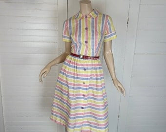 50s Dress in Primary Stripes- 1950s Day Dress- Small- Peter Pat Color- White, Yellow, Blue, Red