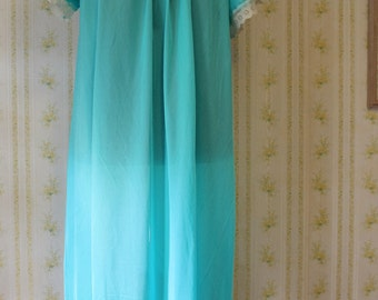 Vintage 1960s ERICA LOREN Bright Turquoise Nylon Nightgown with Lace Trim, Large