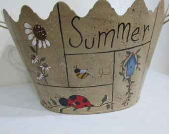 Summer Oval Bucket Hand Painted Metal Flowers, Bees, Bugs and Birdhouses
