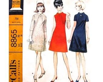1960s Vintage Dress Pattern McCalls 8865 A Line Dress Seam Detail Button Trim Womens Sewing Pattern Size 10