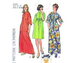 Vintage Robe Pattern Simplicity 6048 Zipper Front Caftan Dress, Beach Dress, Housecoat Womens Sewing Pattern Size 8-10 or 16-18