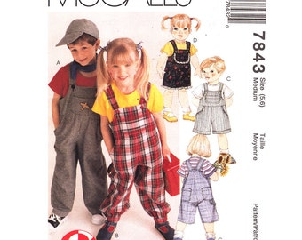 Kids Overalls Pattern McCalls 7843 Short Bib Overalls Three Lengths Suspender Pants Boys & Girls Children Sewing Pattern Size 5 6 UNCUT