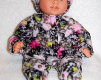 "Black Flowers Fleece Sleeper Bunting and Hat for 12"" Corolle Mon Premier Baby dolls tkct738"