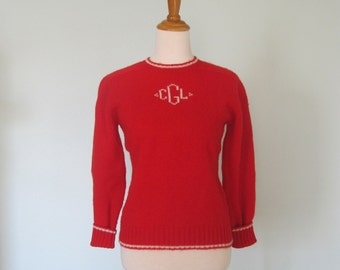 Vintage Bright Red Shetland Wool Monogrammed Sweater - Classic 60s Red Wool Sweater with Monogram - Vintage 1960s Sweater S