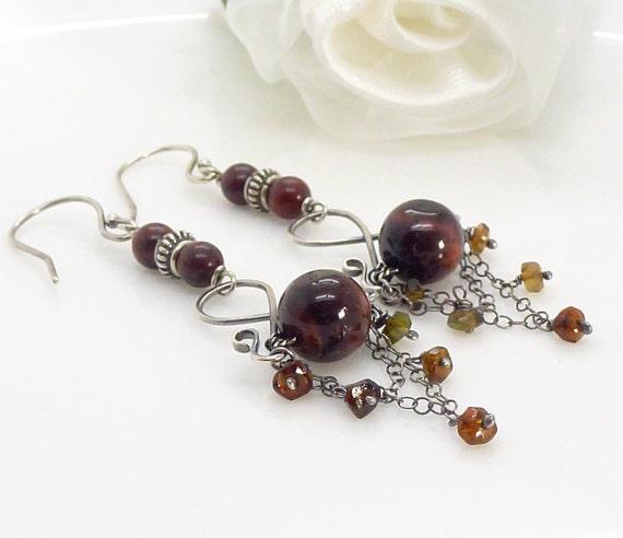 Long dark brown tigers eye earrings in sterling silver, with hessonite garnet, brown chandelier earrings