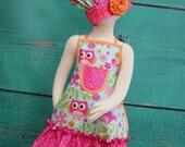Kids Apron - Kids Ruffle Apron - Hot Pink and Blue - Owl Apron