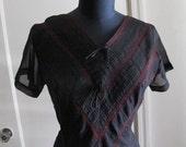 Vintage Black Dress with Burgundy Lace