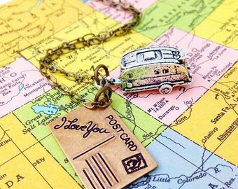 Camper Trailer Necklace RV Camping Travel Silver Airstream Road Trip Summer Vacation Wanderlust Gypsy Caravan Gift for Her Retro Trailer