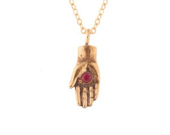 Hamsa Necklace- Handcarved Hand with a Ruby- Protection Necklace