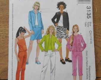 2001 McCalls pattern 3135 girls unlined jacket skirt top pants sz 7-8-10 uncut