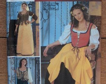 2003 simplicity pattern 3809 misses Renaissance dress costume sz 4-6-8-10 uncut