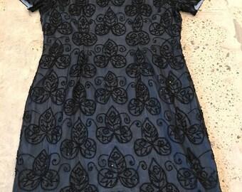Black Beaded Dress - Sheath Dress - Sheer Black Beaded Overlay with Blue Lining - Wedding Party - Mother of Bride - Midi Length - 40 Bust