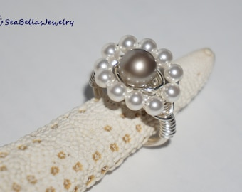 Platinum White Swarovski Pearl Ring-Silver plated- Bridesmaid, maid of honor, wedding, gift for her, mother's day, birthday