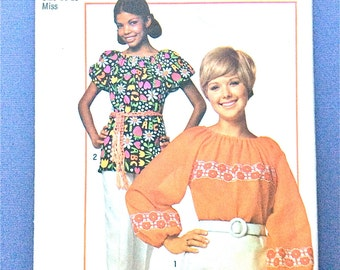 Simplicity 9231 1970s Blouse Pattern Super Simple Blouse Elastic Neckline Balloon Sleeves Bust 38 inches