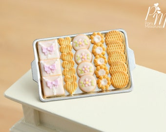 Assorted Butter Cookies on Metal Tray - Miniature Food in 12th Scale for Dollhouse