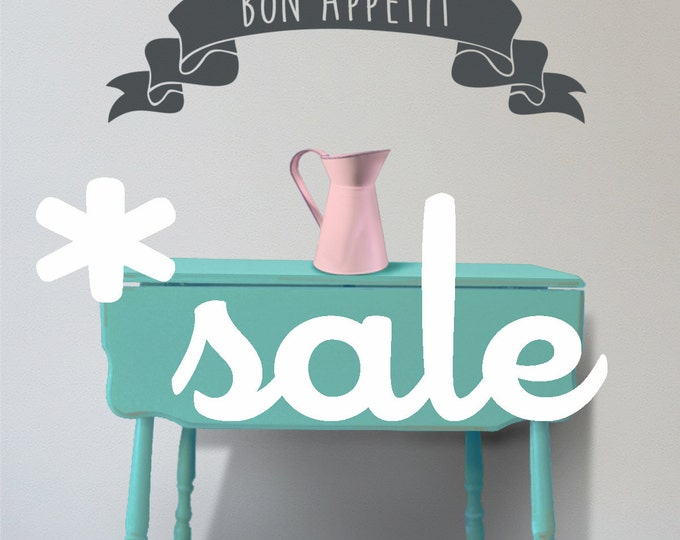 SALE ITEM bon appétit banner wall decal, shabby chic folk art, banner vinyl sticker, cottage chic, FREE shipping