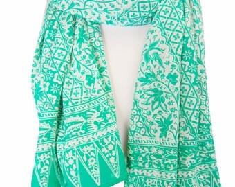 Batik Chiffon Scarf Women's Fashion Accessory - Aqua Green & White Super Soft Long Scarf - Beach Sarong Skirt or Wrap - Gift for Her