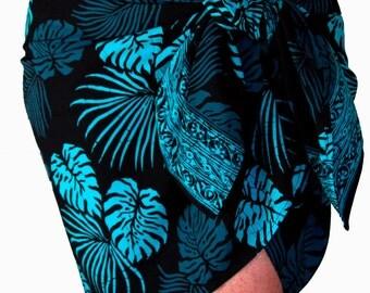 Batik Sarong Pareo Tropical Leaf Sarong - Women's Clothing Short Sarong - Hawaiian Pareo Surf Clothes - Beach Sarong - Beach Cover up - Gift