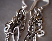 Funky small multi chain mixed metal earrings