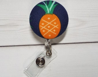 Pineapple Retractable ID Badge Holder Reel  - Fabric Button