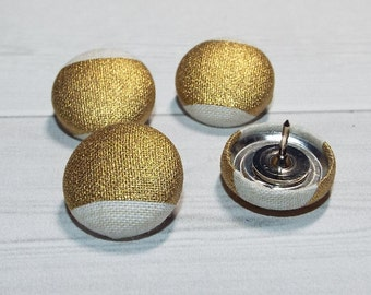 Gold Thumb Tacks / Push Pins - Fabric Covered Buttons - gold stripes set of 4, 6, 8, or 10 ... office accessories