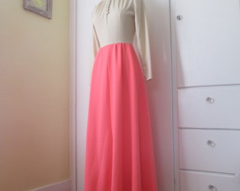 Gorgeous Pink and Tan Floor Length Dress, Turtleneck, Buttons, Modest, M L Medium Large