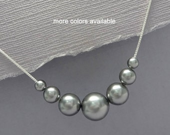 Gray Pearl Necklace, Swarovski  Necklace, Bridesmaid Necklace, Bridesmaid Gift, Bridal Necklace, Wedding Necklace, Mother of the Bride Gift