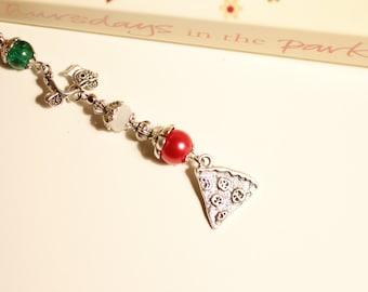 Italy bookmark, Pizza, Rome, vespa, beaded metal bookmark, wanderlust, travel, glass beads, Tibetan Silver, segnalibro