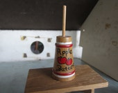 Vintage Miniature Wooden  Hand Painted Apple Butter Churn.. Dollhouse Furniture #189