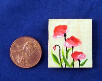 Miniature Original Acrylic Painting Red Poppies