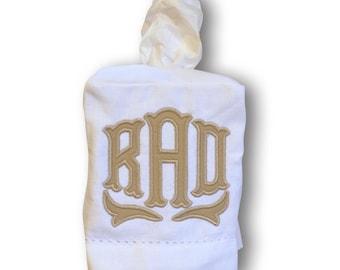 Applique Monogrammed Linen Tissue Box Cover