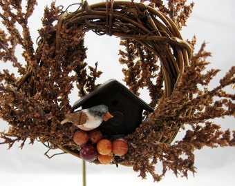 Bird and Rustic Birdhouse Christmas Ornament 152
