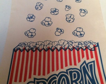 Lot of 10 Vintage Popcorn Bags Red White and Blue